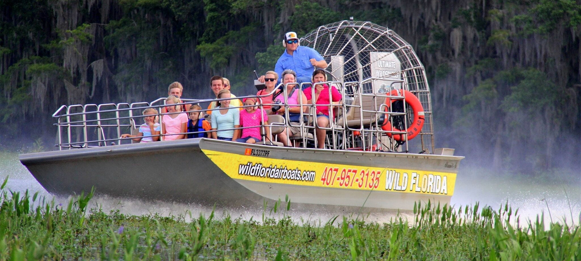 The characteristic flat-bottomed design of the airboat, in conjunction with the fact that there are no operating parts below the waterline, allows for easy navigation through shallow swamps and marshes; in canals, rivers, and lakes; and on ice and frozen lakes. This design also makes it ideal for flood and ice rescue operations. The airboat is pushed forward by the propeller, which produces a rearward column of air behind it - the resulting prop wash averages 150 miles per hour (241 km/h).
