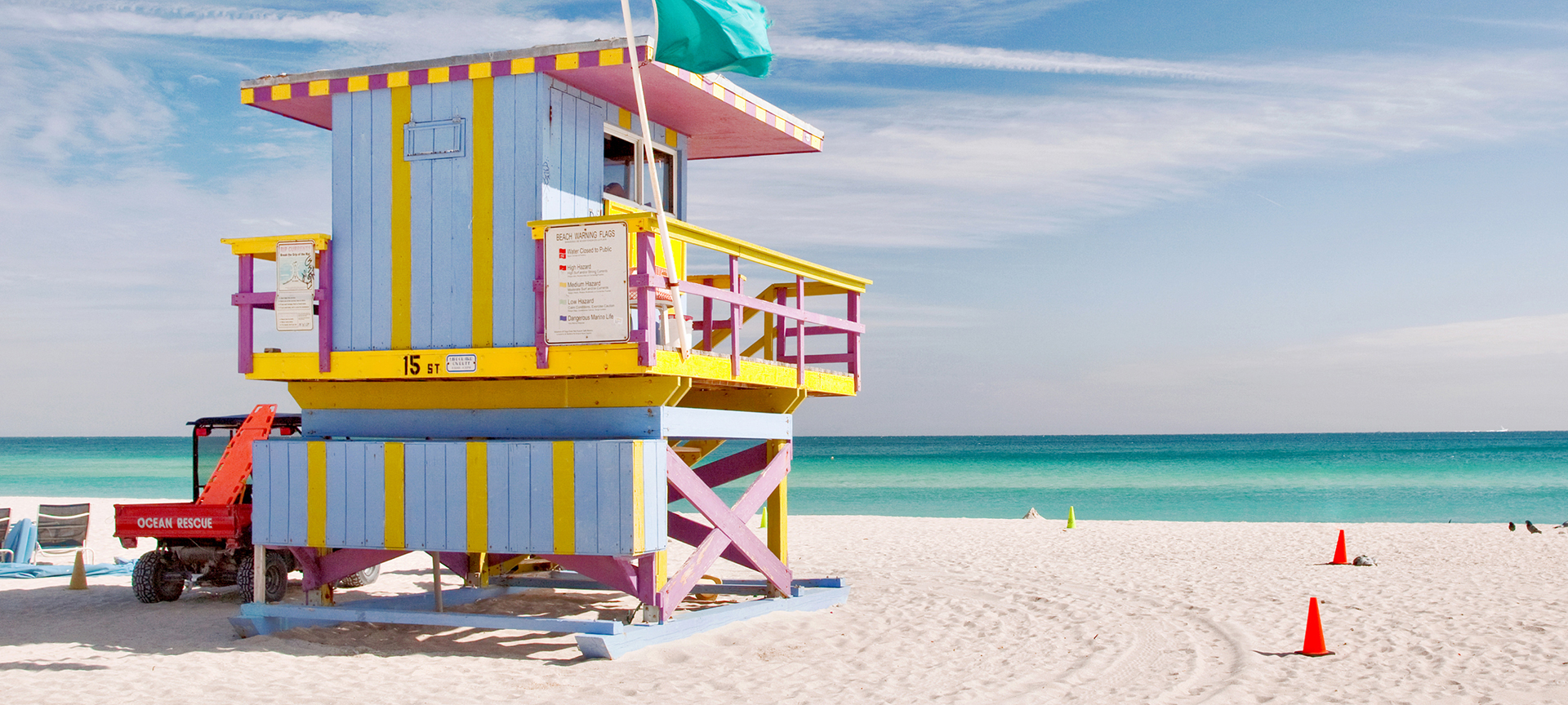On the beaches of Miami, the Atlantic Ocean merges with the Caribbean Sea, the sands turn soft and white and the waters lap the shore in shades of light blue to nearly clear aqua.