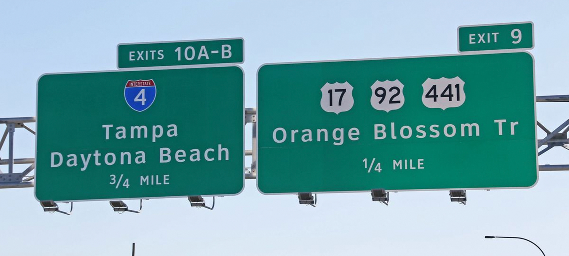 Guide signs include highway route markers (shields), which are reassurance markers, interchange signs, including advance guide and exit signs, and mile markers. Advance guide and exit signs usually feature control cities or other locations to help direct drivers toward their desired destination. The position of the exit number plaque indicates right or left exit (and should indicate center lane exit).