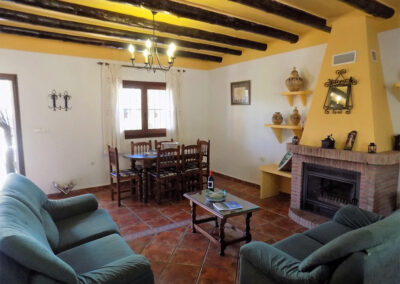 The living & dining area at Casa Benisalte, Órgiva