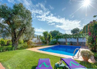The garden & swimming pool at Casa Buganvilla, Órgiva
