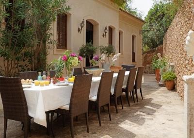 The outdoor dining area at Casa Feliz, Frigiliana