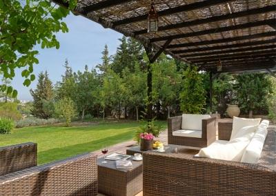 The shaded patio at Casa Feliz, Frigiliana