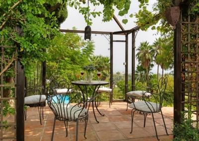 The gazebo seating area at Casa Feliz, Frigiliana