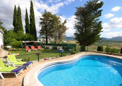The garden & swimming pool at Casa Rilke, Ronda