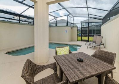 The covered lanai & swimming pool at Championsgate 229, Davenport, Orlando