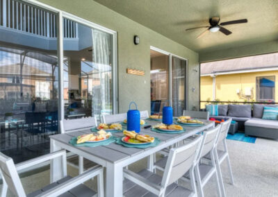 The covered lanai & alfresco dining area at Emerald Island Resort 18, Kissimmee