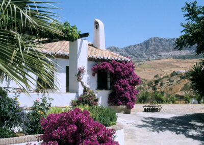 Finca Lomas de Tienda, Villanueva de la Concepción is a well-maintained whitewashed house with private pool on a private estate. It has cosy living space, two bedrooms & several lovely terraces / sitting areas for enjoying stunning rural views.