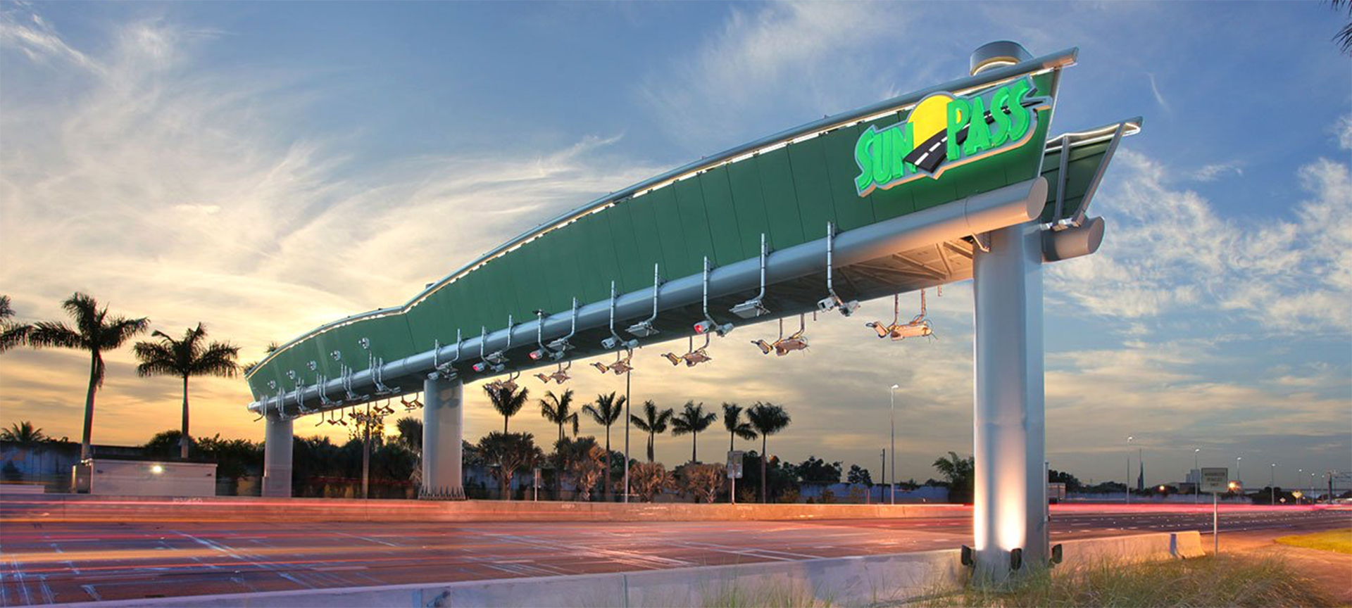 The easiest way to pay tolls in Florida is by Sunpass. This allows drivers to use drive-through Sunpass lanes with overhead gantries to detect and charge the toll to your Sunpass account. Tolls can be as little as $1 for short stretches of road up to $19.06 for the entire 265-mile length of the Florida Turnpike.