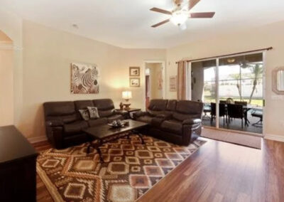 The living area at Formosa Gardens 50, Kissimmee, Florida