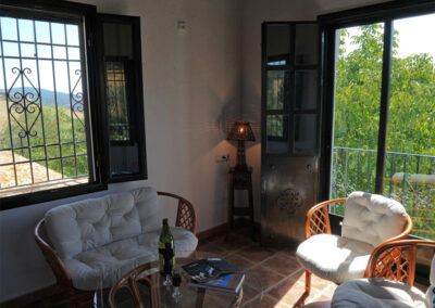 The living area in the tower at Huerta Atienza, Montecorto