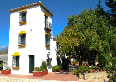 The shady front terrace at Huerta Atienza, Montecorto