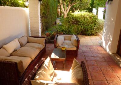 The outdoor living area of villa #1 at La Abadesa, Nueva Andalucía
