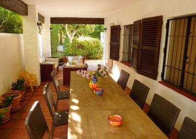 The outdoor dining area of villa #1 at La Abadesa, Nueva Andalucía