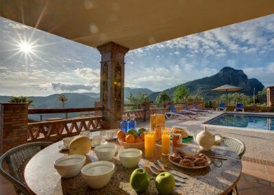 The covered terrace & alfresco dining area at La Olgava, El Jaral