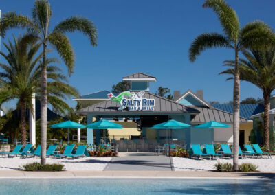 The Salty Rim Bar & Grill and soft sand beach at Margaritaville, Kissimmee, Orlando