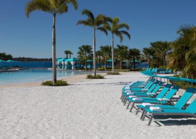 The lagoon-style pool & soft sand beach at Margaritaville, Kissimmee, Orlando