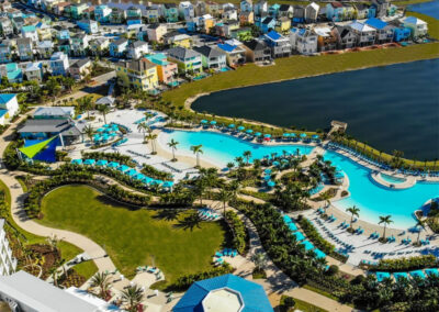 Margaritaville 49, Kissimmee is a new three bed, three bath cottage to sleep seven. Spread over two floors, the property has open-plan living with a definite Key West vibe. The rear terrace includes a dining set & loungers or head to the resort pool, beach, water park & bar.