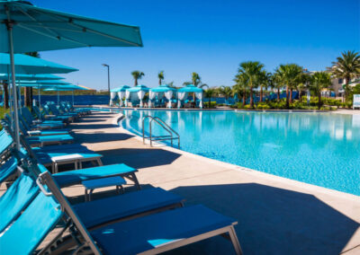 One of the lagoon-style pools & soft sand beaches at Margaritaville, Kissimmee, Orlando
