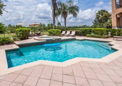 The spillover tub & swimming pool at Reunion Resort 140, Reunion, Orlando, Florida