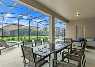 The covered lanai & alfresco dining area at Solterra Resort 353, Davenport