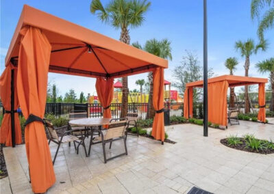 Relax under one of the cabanas by the swimming pool at Solterra Resort, Davenport, Orlando