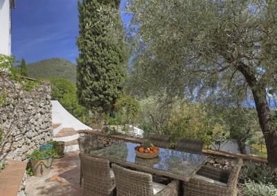 The terrace & outside dining area at Villa Agnes, Frigiliana