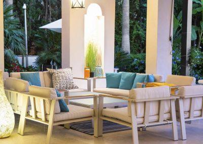 The patio sitting area at Villa Alandalus, Nueva Andalucía