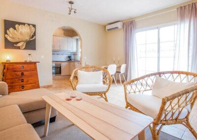 The lower ground floor living area at Villa Albaricoque, Nerja