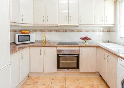 The lower ground floor kitchen at Villa Albaricoque, Nerja