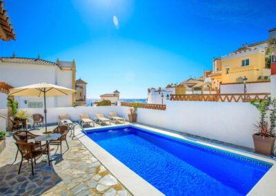 The patio & swimming pool at Villa Albaricoque, Nerja