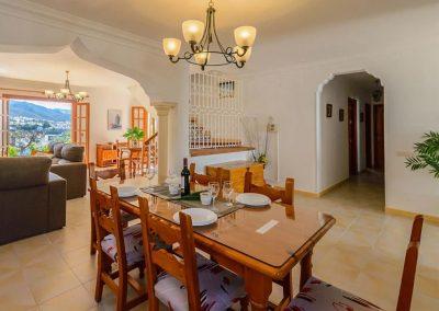 The dining area at Villa Angelinas, Nerja