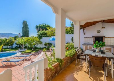 The outdoor dining area at Villa Angelinas, Nerja