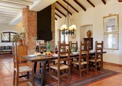 The dining area at Villa Casanova, Nerja