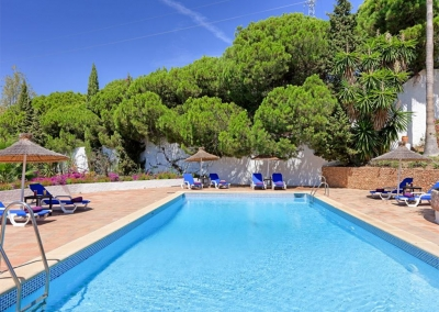 The swimming pool & patio at Villa Casanova, Nerja