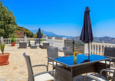The outdoor dining area at Villa Lilo, Torrox