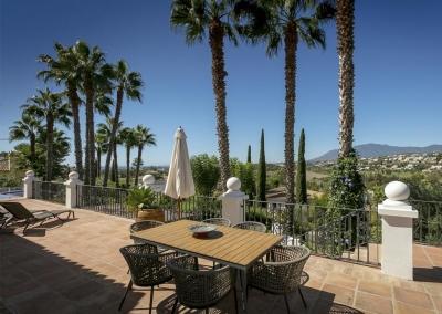 The terrace at Villa Mastranto, El Paraíso offers spectacular views over to the Estepona Mountains, Gibraltar & Morocco