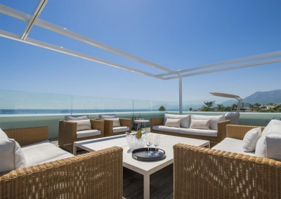 The rooftop lounge at Villa Sequillo, Costabella has stunning views of the Mediterranean