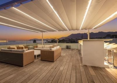 The rooftop bar & lounge at Villa Sequillo, Costabella has stunning views of the Mediterranean