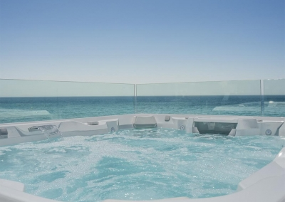 The rooftop hot tub at Villa Sequillo, Costabella has stunning views of the Mediterranean