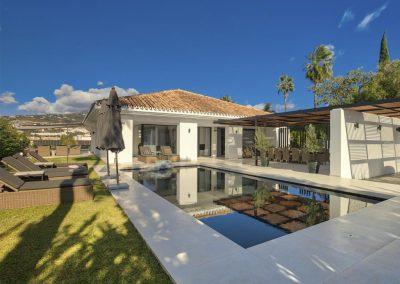 The ground floor patio & swimming pool at Villa Tucan, Nueva Andalucía