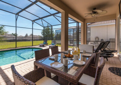 The covered lanai & alfresco dining area at Windsor Hills Resort 382, Kissimmee
