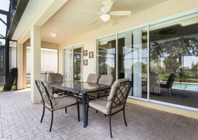 The covered lanai & alfresco dining area at Windsor Hills Resort 515, Kissimmee