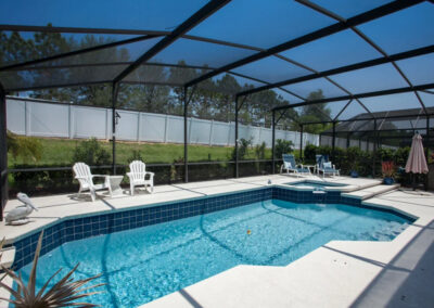 The patio & swimming pool at Windsor Palms Resort 21, Kissimmee, Orlando