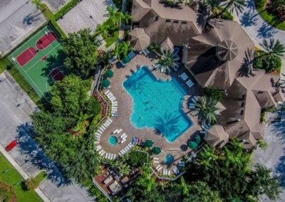 The swimming pool, tiki bar & other resort facilities at Windsor Palms Resort, Kissimmee, Orlando